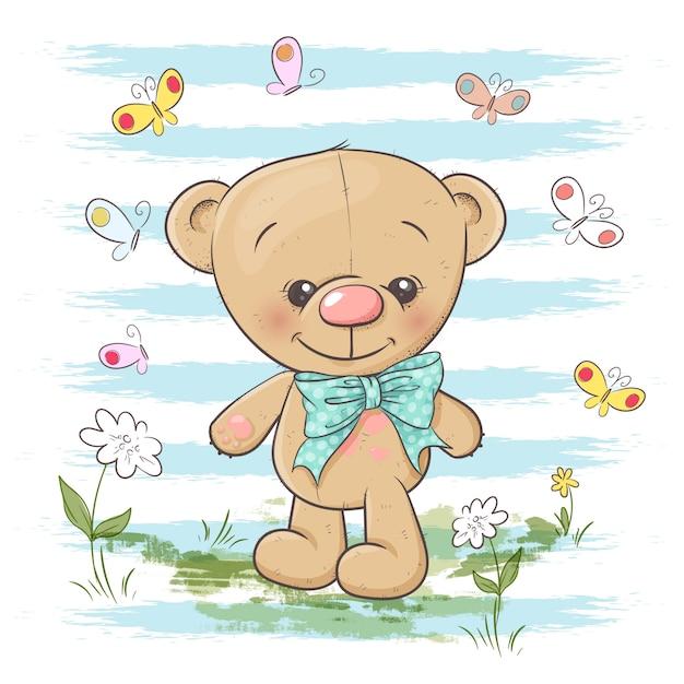 Ilustração de flores e de borboletas bonitos do urso de peluche. estilo dos desenhos animados Vetor Premium