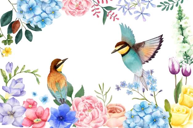 Ilustração de flores e pássaros pintados à mão Vetor grátis