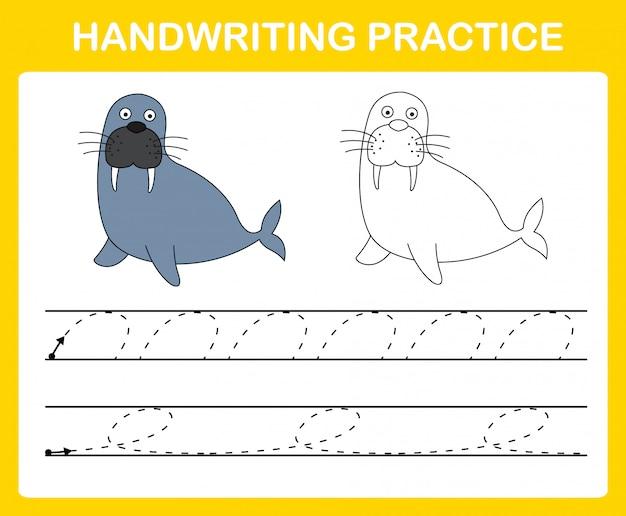 Ilustração de folha de prática de caligrafia Vetor Premium