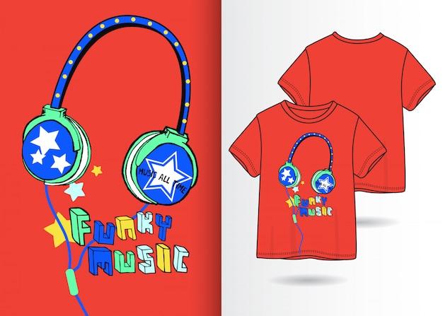 Ilustração de fone de ouvido de mão desenhada com design de camisa de t Vetor Premium