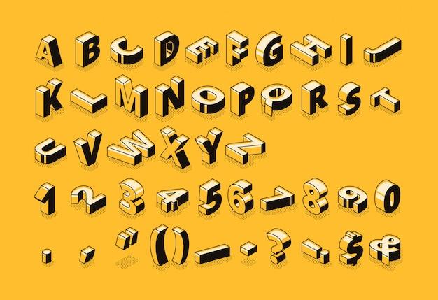 Ilustração de fonte de meio-tom letras isométrica de desenhos animados de linha fina Vetor grátis