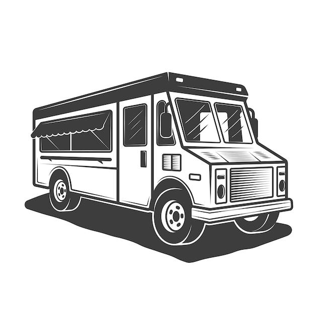 Ilustração de food truck em monocromático vintage em fundo branco Vetor Premium
