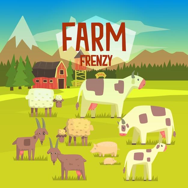 Ilustração de frenesi de fazenda com campo cheio de animais Vetor Premium