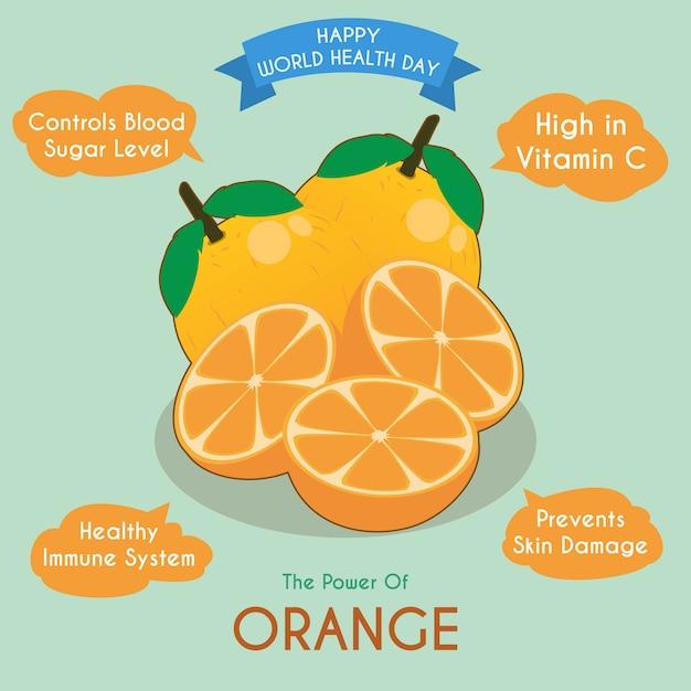 Ilustração de fruta laranja e seus benefícios Vetor Premium
