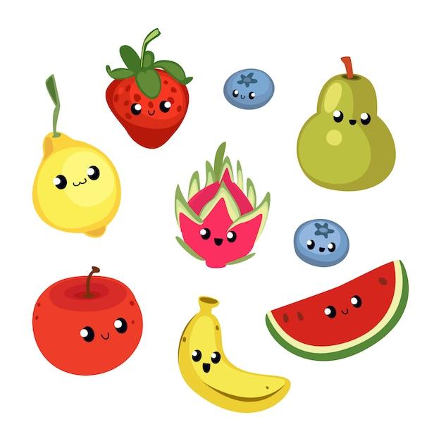 Ilustração de frutas bonito Vetor Premium