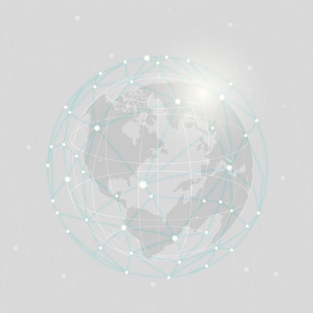 Ilustração de fundo cinza de conexão em todo o mundo Vetor grátis