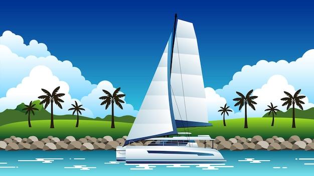 Ilustração de fundo de catamarã navegando ao longo da costa Vetor Premium