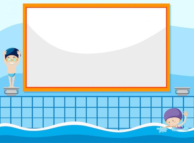 Ilustração de fundo de criança nadando Vetor grátis