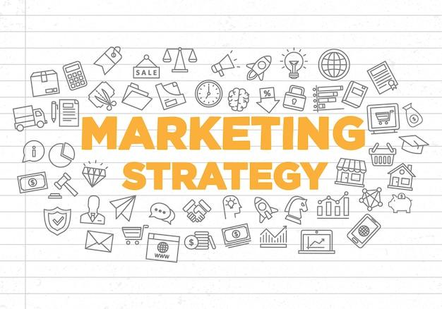 Ilustração de fundo de estratégia de marketing criativa Vetor Premium