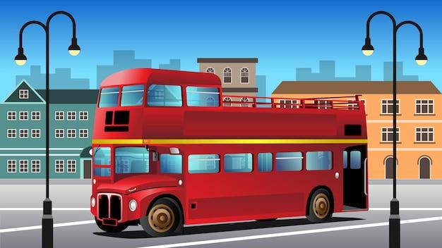 Ilustração de fundo de ônibus vintage de dois andares Vetor Premium