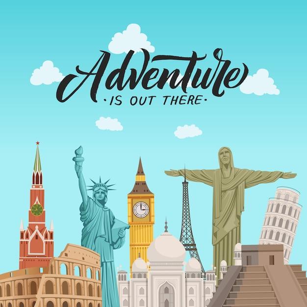 Ilustração de fundo de pontos turísticos do mundo com lugar para texto Vetor Premium