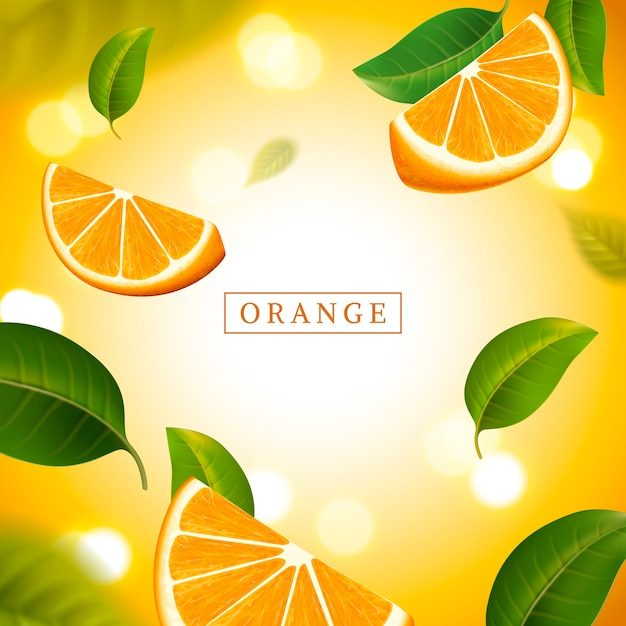 Ilustração de fundo laranja refrescante Vetor Premium
