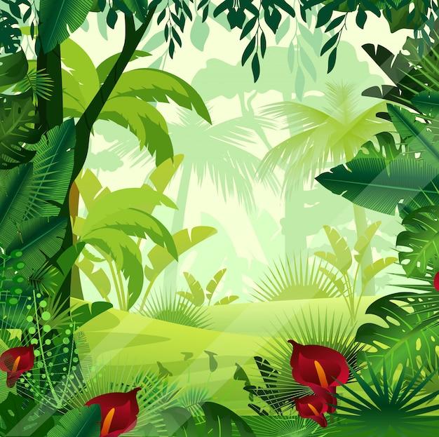 Ilustração de fundo selva gramado em tempo de manhã. selva colorida brilhante com samambaias, árvores, arbustos, videiras e flores em desenhos animados e. Vetor Premium