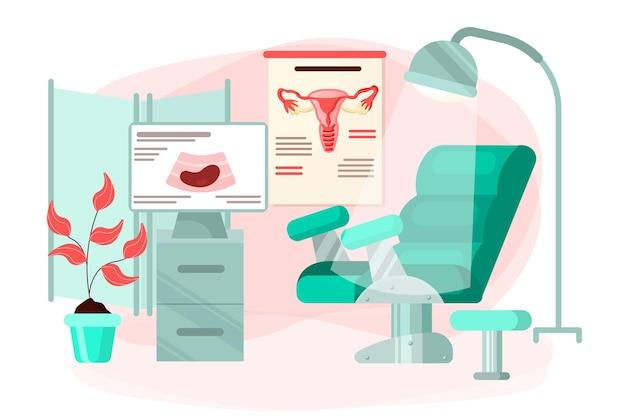 Ilustração de gabinete de ginecologia de design plano Vetor grátis