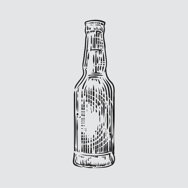 Ilustração, de, garrafa cerveja, em, estilo gravado Vetor Premium