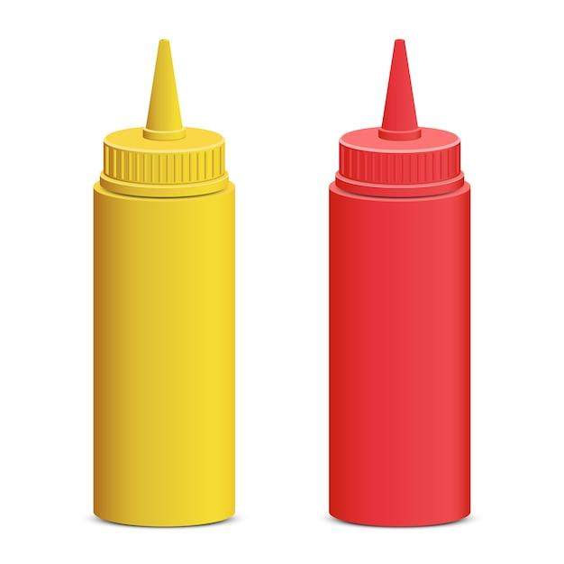 Ilustração de garrafa de ketchup e mostarda em fundo branco Vetor Premium