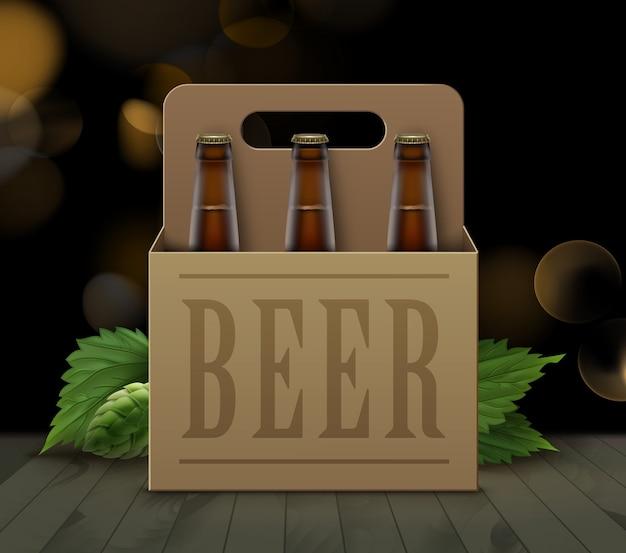 Ilustração de garrafas de cerveja marrons em caixa de papelão com alça e lúpulo verde no chão de madeira e fundo desfocado Vetor Premium