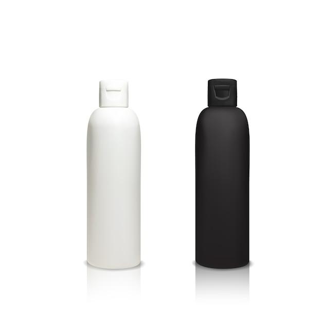 Ilustração de garrafas plásticas cosméticas de recipientes 3d realistas para gel de banho, xampu Vetor grátis