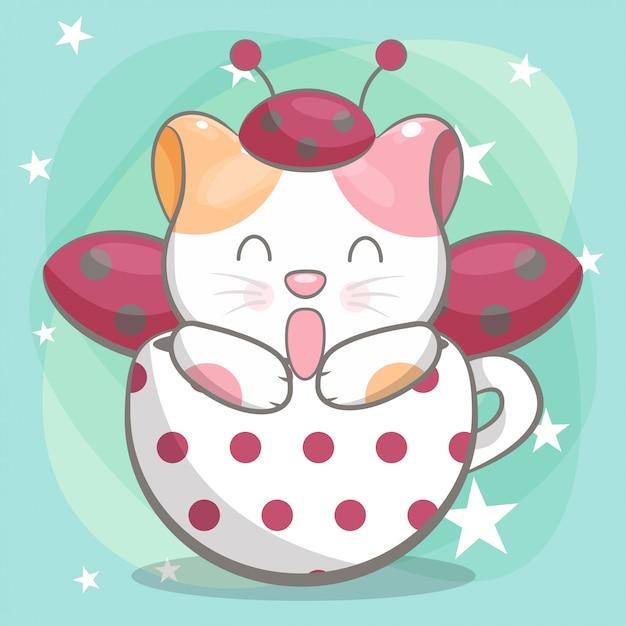 Ilustração de gato bonito feliz mão desenhada para crianças Vetor Premium