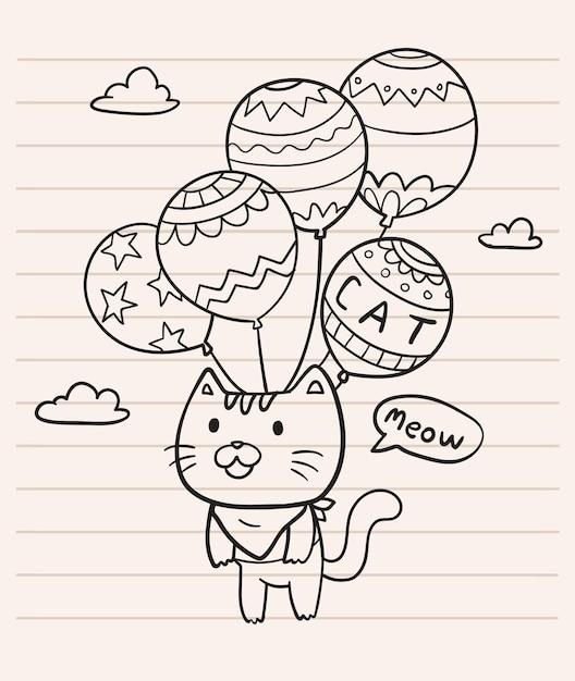 Ilustração de gato de balão Vetor Premium