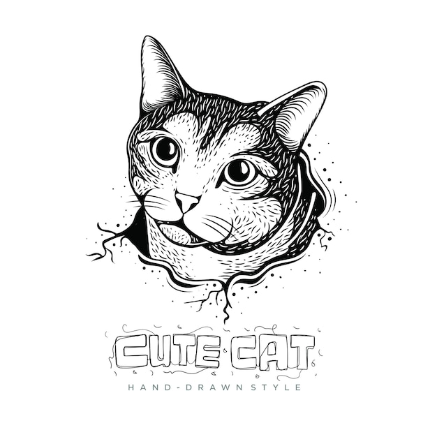 Ilustração de gato fofo Vetor Premium