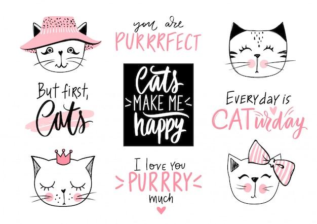 Ilustração de gatos doodle e citações de gatinho, miau letras. lindo conjunto com animais engraçados hipster, frases de gatinho da moda Vetor Premium