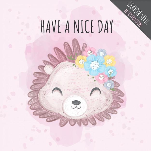 Ilustração de giz de cera bonito flores ouriço para crianças Vetor Premium