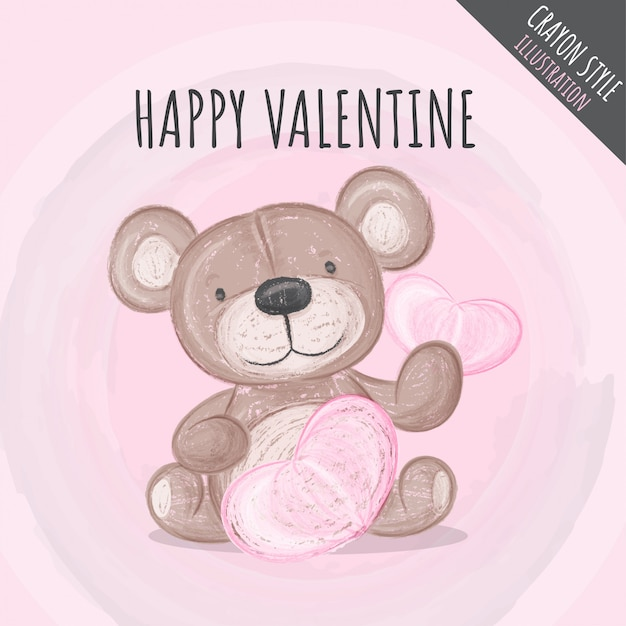 Ilustração de giz de cera lindo urso fofo para crianças Vetor Premium