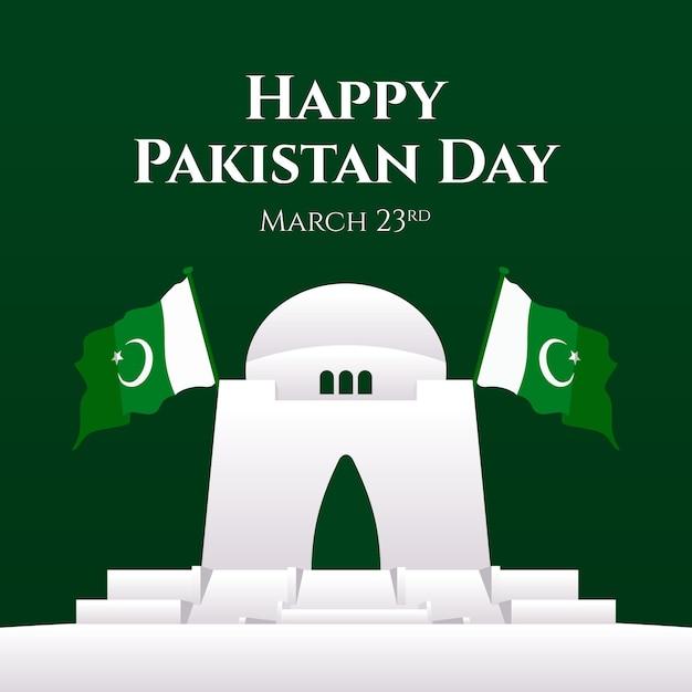 Ilustração de gradiente do dia do paquistão com edifício e sinalizadores Vetor grátis