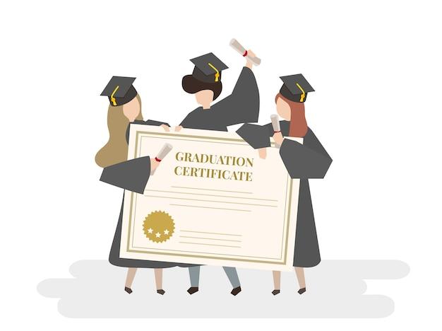 Ilustração, de, graduação, certificado Vetor grátis