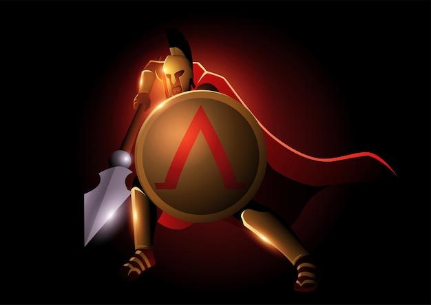 Ilustração de guerreiro espartano com sua lança e escudo Vetor Premium