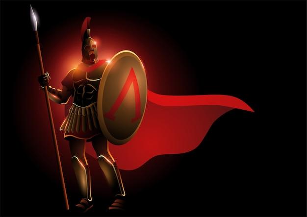 Ilustração de guerreiro espartano usando capacete e capa vermelha, ilustração de fantasia de leônidas Vetor Premium