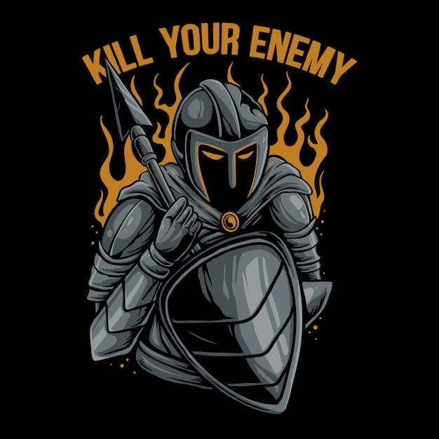 Ilustração de guerreiro espartano Vetor Premium