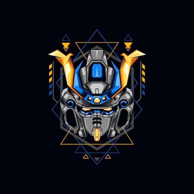 Ilustração de guerreiro robô azul Vetor Premium