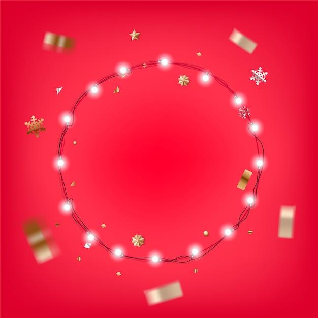Ilustração de guirlanda iluminada de natal. modelo de vetor de cartão de natal Vetor Premium