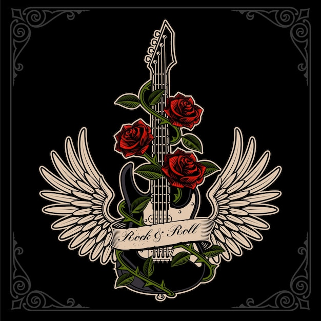 Ilustração de guitarra com asas e rosas em estilo de tatuagem no escuro backgroud. em camadas, o texto está no grupo separado. Vetor Premium