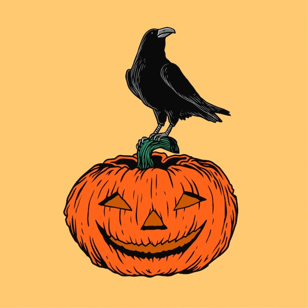 Ilustração de halloween corvo e abóbora Vetor Premium