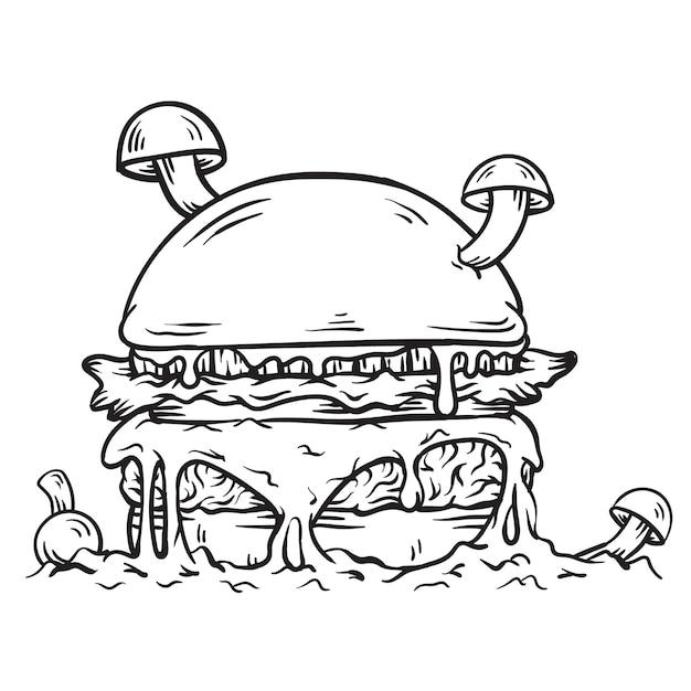 Ilustração de hambúrguer preto e branco com cogumelos e queijo mozarella derretido Vetor Premium