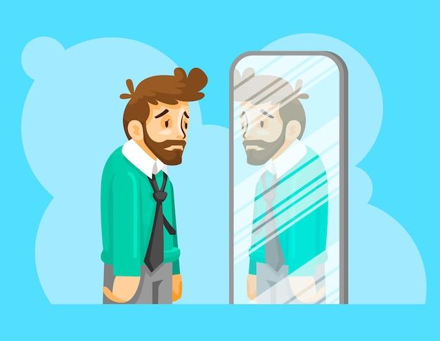 Ilustração de homem com baixa autoestima Vetor Premium