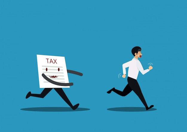 Ilustração, de, homem negócios, fugitivo, de, papel, imposto, conceito Vetor Premium