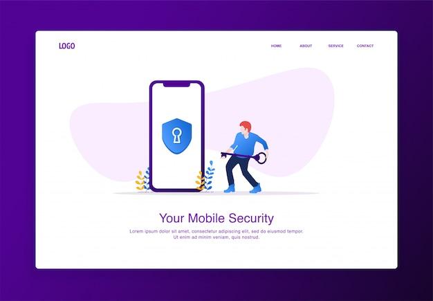 Ilustração de homens carregam a chave para desbloquear a segurança móvel. conceito moderno design plano, modelo de página de destino. Vetor Premium