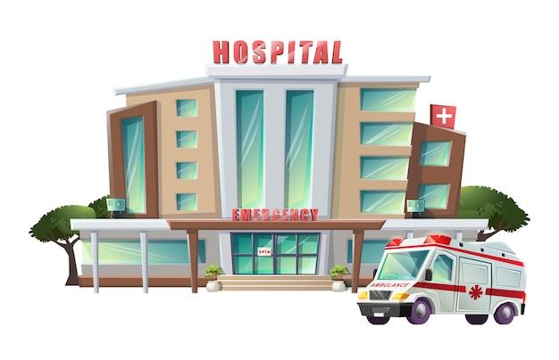 Ilustração de hospital com ambulância Vetor Premium