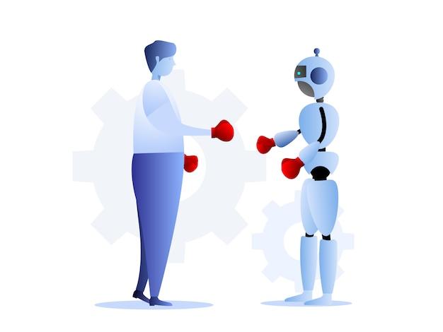 Ilustração, de, human, vs, robôs, negócio, desafio, conceito Vetor Premium