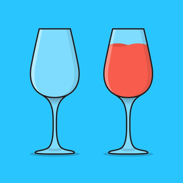 Ilustração de ícone de copo de cocktail vazio e cheio. ícone plano de copos com sucos Vetor Premium