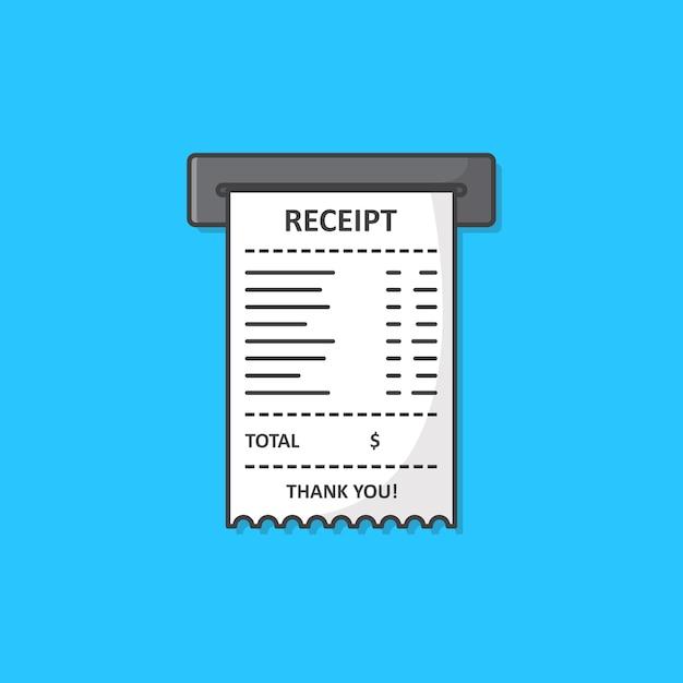 Ilustração de ícone de recibo impresso de vendas. ícone plano de recibo de papel Vetor Premium