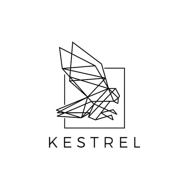 Ilustração de ícone de vetor de logotipo preto geométrico poligonal pássaro quadrado pássaro Vetor Premium