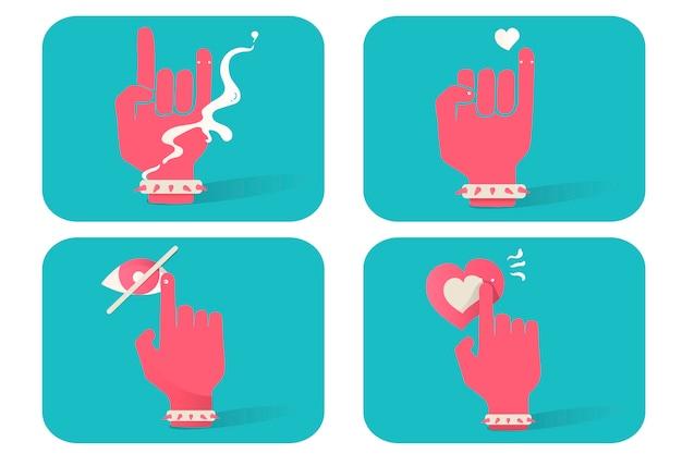 Ilustração de ícones de gesto de mão em fundo azul Vetor grátis