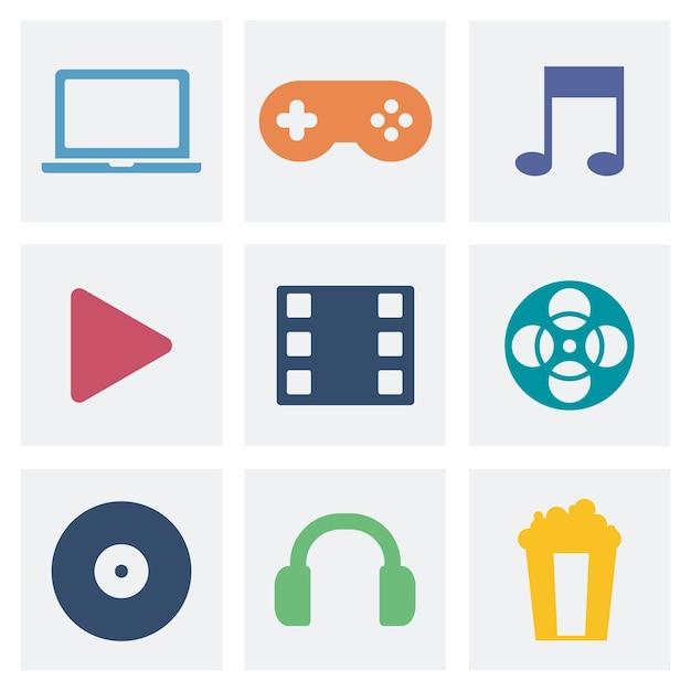 Ilustração de ícones gráficos de conceito de entretenimento Vetor grátis