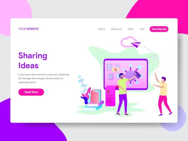 Ilustração de idéias de compartilhamento de estudante para páginas da web Vetor Premium