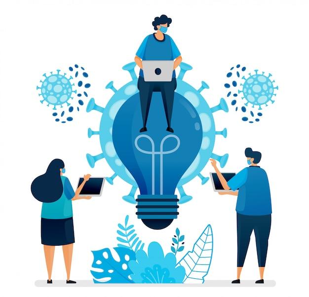 Ilustração de idéias de negócios e brainstorming para resolver problemas de negócios na pandemia covid-19 e no novo normal. o design pode ser usado para landing page, site, aplicativo móvel, cartaz, panfletos, banner Vetor Premium
